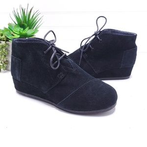 Toms Desert Lace Up Demi Wedge Shoes 6.5